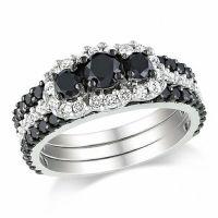 2 CT. T.W. Enhanced Black and White Diamond Bridal Set in ...