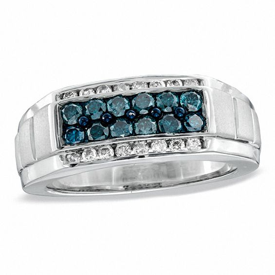 Mens 1 CT TW Enhanced Blue And White Diamond Band In