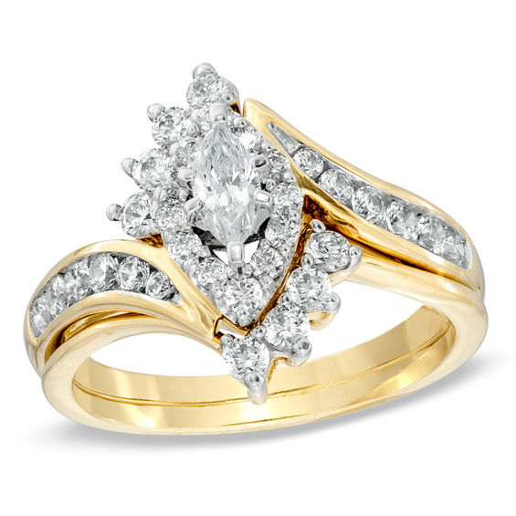 1 CT TW Marquise Diamond Bypass Bridal Set In 14K Gold
