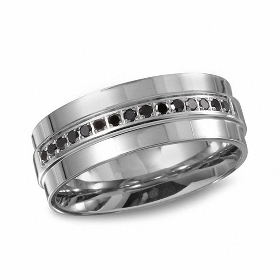 Mens 16 CT TW Enhanced Black Diamond Wedding Band In