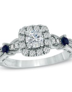 Vera wang love collection ct   diamond and blue sapphire vintage also oval three stone rh zales