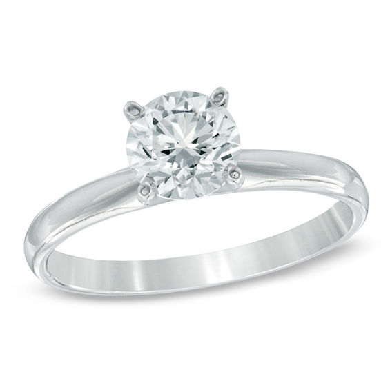 1 CT Diamond Solitaire Engagement Ring In 14K White Gold