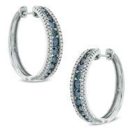 1 CT. T.W. Enhanced Blue and White Diamond Hoop Earrings ...