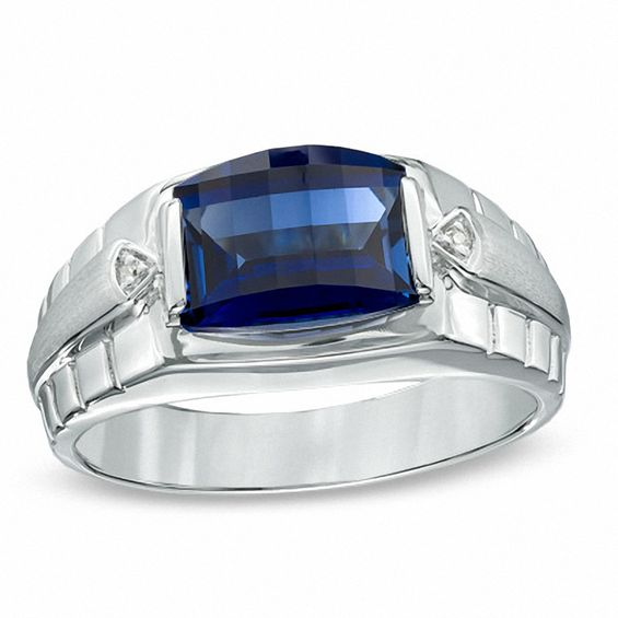 Men S Barrel Cut Lab Created Blue Sapphire And Diamond Accent Ring In Sterling Silver Size 10