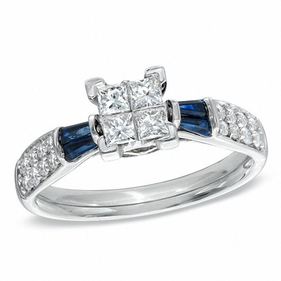 12 CT TW PrincessCut Quad Diamond and Blue Sapphire Engagement Ring in 14K White Gold