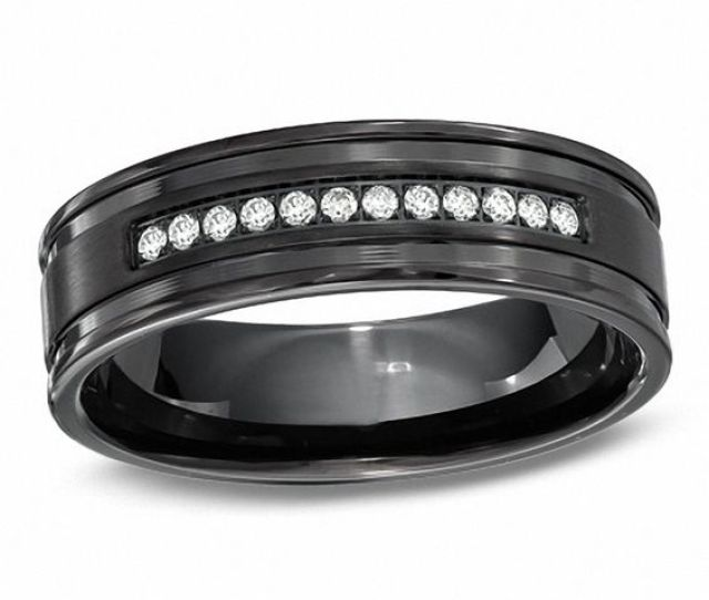 T W Diamond Wedding Band In Black Stainless Steel