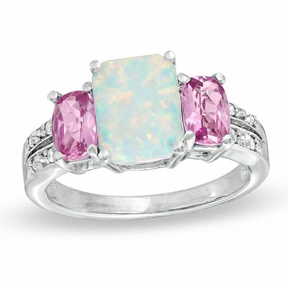 CushionCut LabCreated Opal Pink Sapphire and Diamond