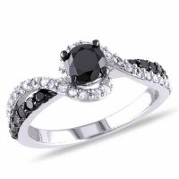 3/4 CT. T.W. Enhanced Black Diamond and Lab-Created White ...