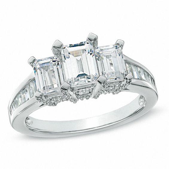 2 CT TW Certified Emerald Cut Diamond Three Stone Ring