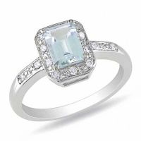 Emerald-Cut Aquamarine and 1/20 CT. T.W. Diamond Promise ...