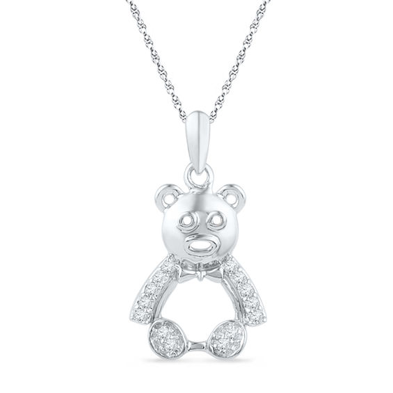 1/10 CT. T.W. Diamond Teddy Bear Pendant in Sterling