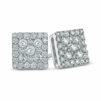 1/2 CT. T.W. Diamond Square Cluster Stud Earrings in 10K ...