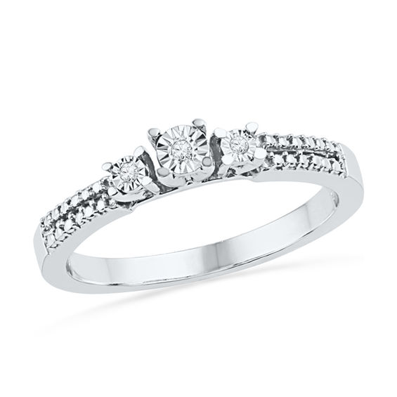 Diamond Accent Three Stone Promise Ring In Sterling Silver
