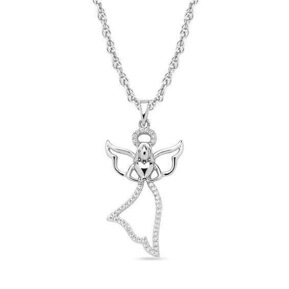 Diamond Accent Floating Angel Pendant in 10K White Gold