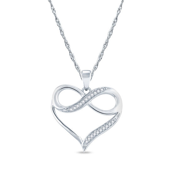 Diamond Accent Infinity in Heart Pendant in 10K White Gold