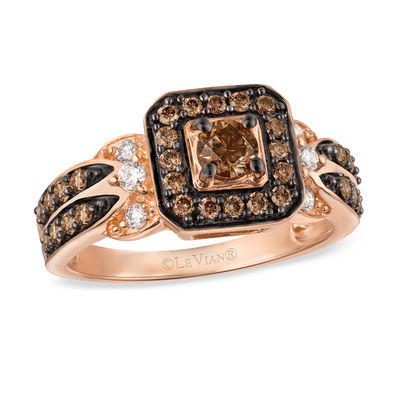 le vian chocolate diamonds 7 8 ct t w diamond square frame ring in 14k strawberry gold
