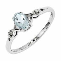 Oval Aquamarine and Diamond Accent Promise Ring in ...