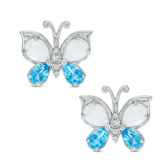 PearShaped LabCreated Opal Blue Topaz and Diamond