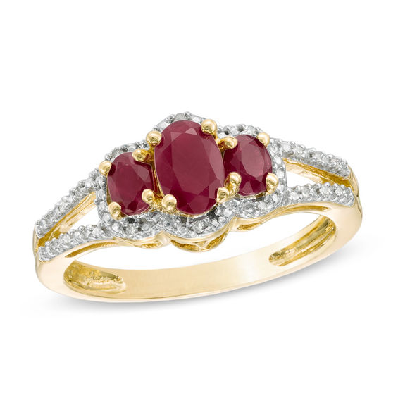 Oval Ruby And Diamond Accent Three Stone Ring In 10K Gold