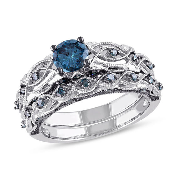 1 CT TW Enhanced Blue Diamond VintageStyle Bridal Set in 10K White Gold  Engagement Rings