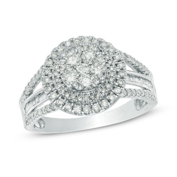 1 CT TW Round And Baguette Diamond Composite Double