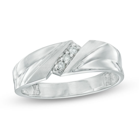 Mens Diamond Accent Three Stone Slant Wedding Band In 10K