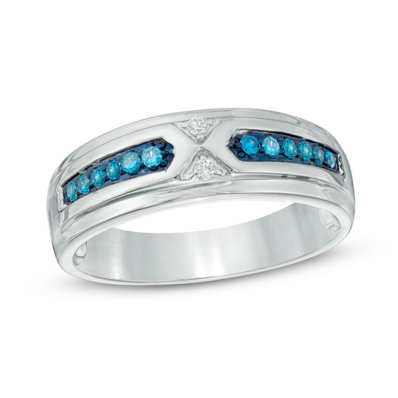 Men S 1 6 Ct T W Enhanced Blue And White Diamond Wedding Band In Sterling Silver Wedding