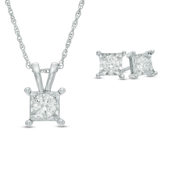 1 CT. T.W. Diamond Solitaire Square Pendant and Earrings