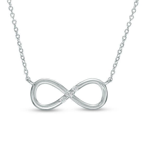 Diamond Accent Three Stone Infinity Necklace in 10K White