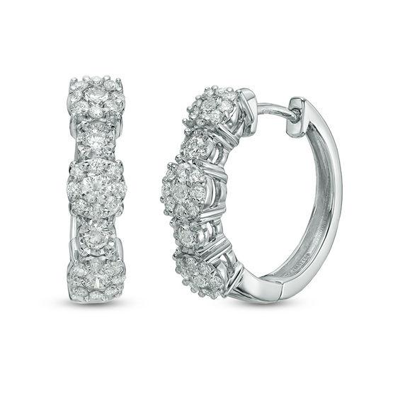 1 CT. T.W. Diamond Hoop Earrings in 10K White Gold