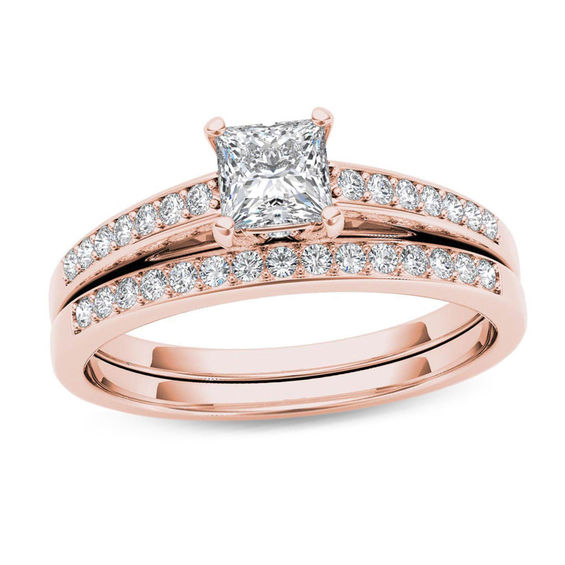 58 CT TW Princess Cut Diamond Bridal Set In 14K Rose