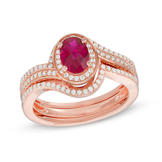 Oval Lab Created Ruby And White Sapphire Swirl Frame