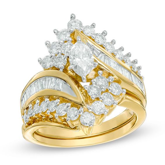 1 12 CT TW Marquise Diamond Bypass Bridal Set In 14K