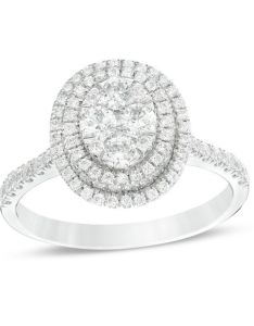 composite diamond oval frame engagement ring in  white gold also ct rh zales