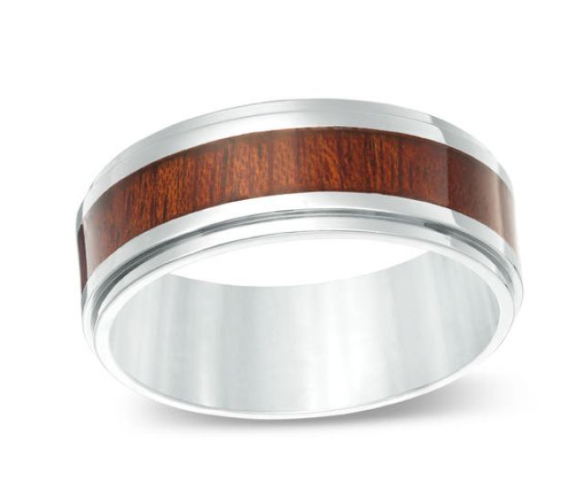Mens  Mm Comfort Fit Wood Grain Inlay Wedding Band In Stainless Steel