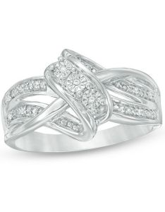Diamond accent three stone layered crossover ring in sterling silver size also rh zales
