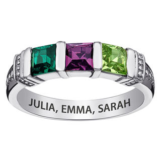 Mothers Princess Cut Simulated Birthstone Collar Ring In