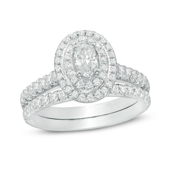 1 14 CT TW Oval Diamond Double Frame Bridal Set In 14K