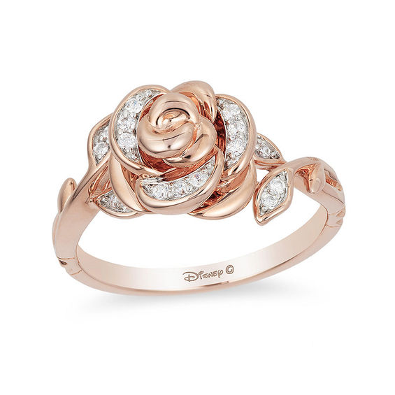 Enchanted Disney Belle 110 CT TW Diamond Rose Ring In