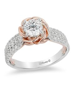 diamond rose frame engagement ring in  two tone gold also enchanted disney belle ct rh zales