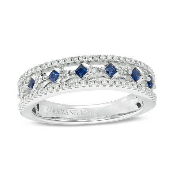 Vera Wang Love Collection Princess Cut Blue Sapphire And 1