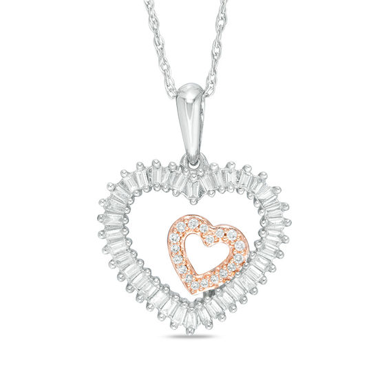 15 CT TW Baguette And Round Diamond Double Heart