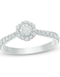Love   destiny by zales ct   certified diamond hexagon frame engagement ring also rh