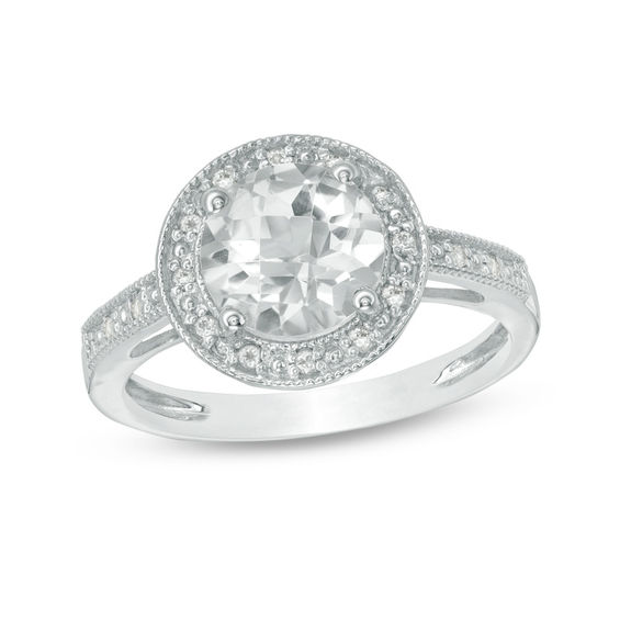8 0mm White Topaz Lab Created White Sapphire And Diamond Accent Vintage Style Frame Ring In