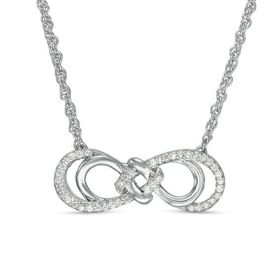 1/6 CT. T.W. Diamond Love Knot Double Sideways Infinity