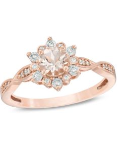 diamond frame engagement ring in sterling also mm morganite and ct rh zales
