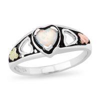 Black Hills Gold 5.0mm Heart-Shaped Lab-Created Opal ...