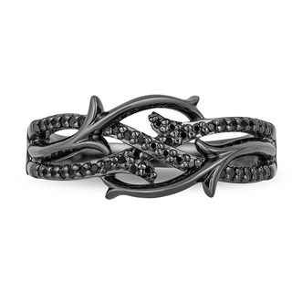 Enchanted Disney Villains Maleficent 14 CT TW Enhanced Black Diamond Ring in Sterling Silver