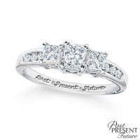 Previously Owned - 1/2 CT. T.W. Princess-Cut Diamond Past ...