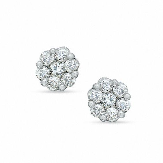 1 Carat White Gold Diamond Earrings 1 2 Carat Diamond Drop